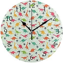 Ahomy - Reloj de Pared Redondo, diseño de Huella de Dinosaurio