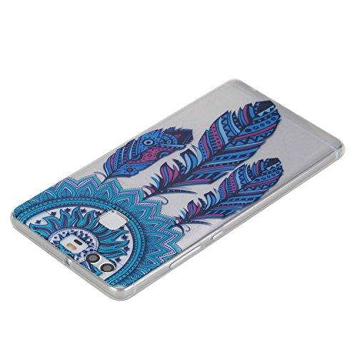 Coque Bumper pour Huawei P9,Huawei P9 Soft Silicone Tpu Coque Mode,Huawei P9 Flexible Souple Case,Ekakashop Mignonne Design Transparente Crystal Clair Souple Gel Housse Coque Protecteur Back Cover Def Bleu Dreamcatcher