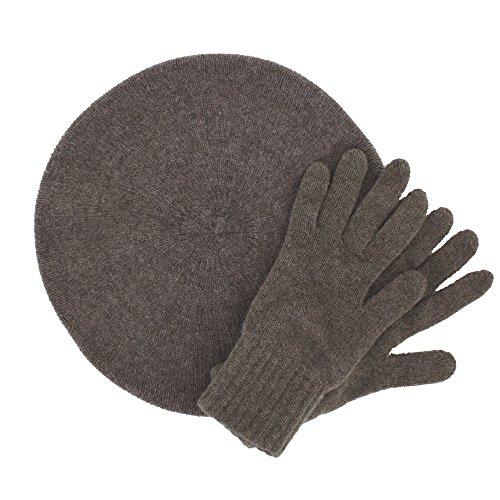 ScotlandShop - Ensemble bonnet, écharpe et gants - Femme Otter Brown