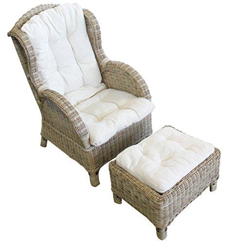 Relax - Ohrensessel mit Fußhocker aus Rattan, inklusive Sitzpolster in beige Rattansessel KorbsesselRattanfarbe:Dust