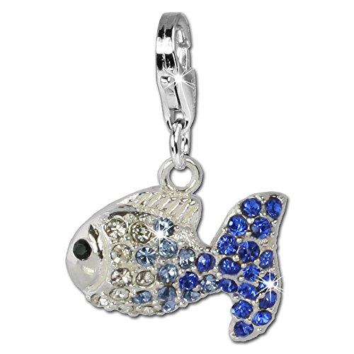 Charm Swarovski Kristalle Fisch blau ICE Anhänger 925 Silber für Bettelarmbänder Kette Ohrring GSC001 (Fisch Charms)