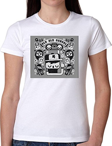 T SHIRT JODE GIRL GGG22 Z2011 OLD SCHOOL CARTOON MUSIC URBAN STYKE FUN FASHION COOL BIANCA - WHITE