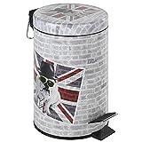 WENKO 21392100 Kosmetik Treteimer Union Jack, Fassungsvermögen 3 L, Metall, 17 x 25 x 17 cm, Mehrfarbig