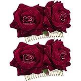 Back Packers Haarspange mit Rosen-Blume, für Damen, Rose, Blumen, Haaraccessoires, Hochzeits-Haarspange, Flamenco-Tänzerin, 2 Stück dunkelrot