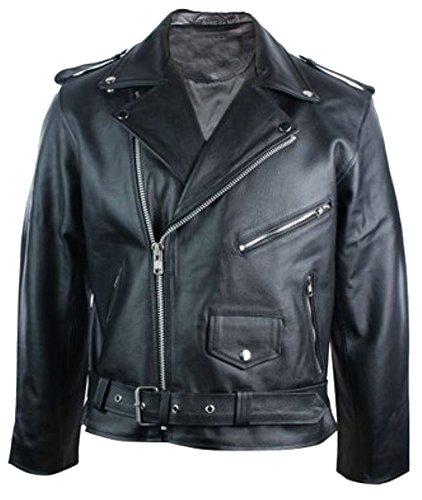 classyak Herren Fashion Echt Leder Hohe Qualität Brando Jacke Cow Black