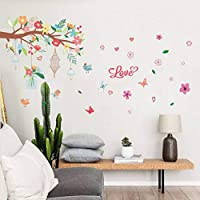 QWEDSA Colorful Flower Branch Birdcage Wall Stickers Living Room Home Decoration Art Decals Kids Room Home Decor Murals