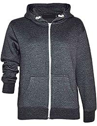 GG Herren Plain Fleece Zip Langarm Hoodie Sweatshirt Jacke