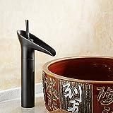 Daadi Küche bad waschbecken wasserhahn Die Europäische antike Wasserhahn bad Kupfer heißen und kalten Wasserfall Becken Wein Glas retro schwarze Patina verschärfen.