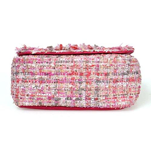 BMC Donna Cute Tessuto Stile Texture Mini Borsa Chiusura A Scatto Borsetta Perfettamente Rosa