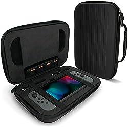 igadgitz Nero Custodia Rigida 'Elite' EVA Nintendo Switch, con Maniglia, Doppia cerniera e Schiuma Antiurto ad Alta Densità con Aperture su Misura.