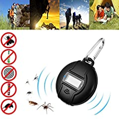 Idea Regalo - Repellente Ultrasuoni, Portatile Anti Zanzare Efficace Professionale Repellente Zanzare Carica USB e Solar Power 2 in 1 Repellente Insetti All'aperto/interno Contro Zanzare con Bussola e Moschettone