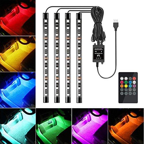 Favoto Luci LED Interne Auto, 4 Strisce 48 Lampadine Impermeabili, Kit RGB di Illuminazione e Decorazione per l'Interno di Auto – Alimentato da USB