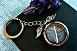 Silver Feather Angel Wings Keychain - Premium 30mm Locket Rhodium Plated Key Ring White Feather Miscarriage stillbirth loss memorial gift
