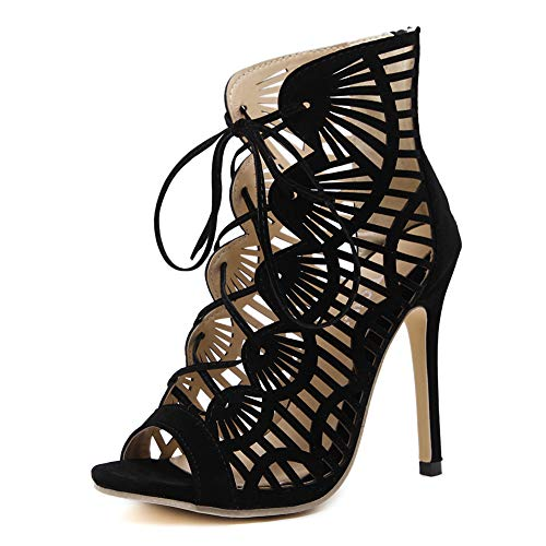 Lxmhz Womens Cutout Gladiator Ankle Strap Platform Block Heel Stiletto Sandalen Elegant Stiletto Openwork Sandals Cross Straps high Heels Zipper,US5/EU35/UK3/CN34