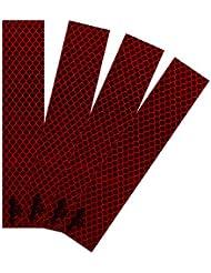 Lantra Besa 3M Scotchlite Selbstklebend Reflektierend Band Aufkleber Nacht Sicherheit Reflektor für Fahrrad Motorrad Auto Radfahren 4Pcs 3*15cm - Rot