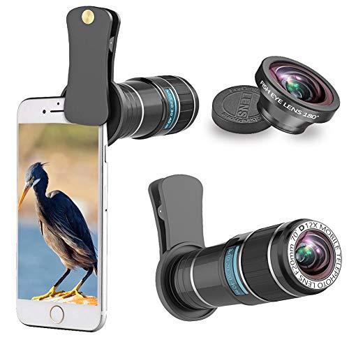 Wechselrahmen 12 x Teleobjektiv + 180 Grad Fisheye-Objektiv, Handy Kamera Lens Kit kompatibel für iPhone X, iPhone 8, 8 Plus, 7, 7 Plus, 6, 6S & die meisten Smartphone, Android Handy