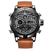 Uhren für Männer Wasserdicht Männer Edelstahl Business Armbanduhr Mann Runde Uhr Dual Movt Herren Leder Quartz Analog Digital LED Sport Armbanduhr (braun)