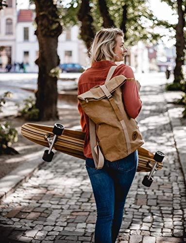 PAPERO ® Rucksack aus Kraft- Papier | Ultra minimalistisch Herren Damen, Robust, Wasserfest Vegan fair nachhaltig Urban Style FSC Zertifiziert | Kurier Taschen, Rolltop Laptop Farbe:Hellbraun - 6