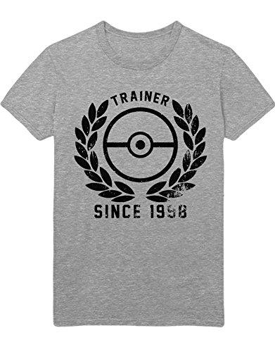T-Shirt Poke Go Trainer Since 1998 Poke-Holic The Only Reason I Walk Hype Kanto X Y Blue Red Yellow Plus Hype Nerd Game C123126 Grau M