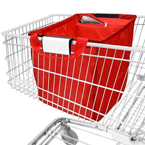 Achille ad102st, borsa da spesa pieghevole con inserto fresco, adatta a tutti i comuni carrelli, rosso, taglia unica
