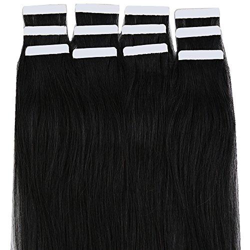 Extension biadesivo capelli veri riutilizzabili con adesive- 40cm 100g 40 ciocche #1b nero naturale - 100% remy human hair naturali lisci