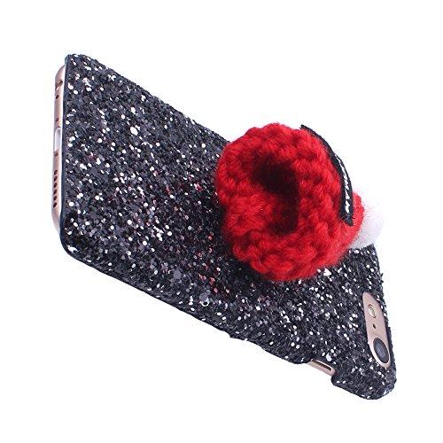 iProtect Schutzhülle Apple iPhone 7 Glitzer Hardcase weihnachtliches Design mit Wollmütze in schwarz Glitzer Schwarz