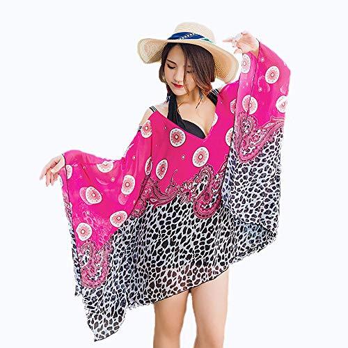 ACOMG Große Damen Einteiler Badeanzug, Damen Strand Halfter Badebekleidung, Hals und Rücken Schnürung Design, gedruckt Beachwear Badeanzug vertuschen,Pink-XXL -