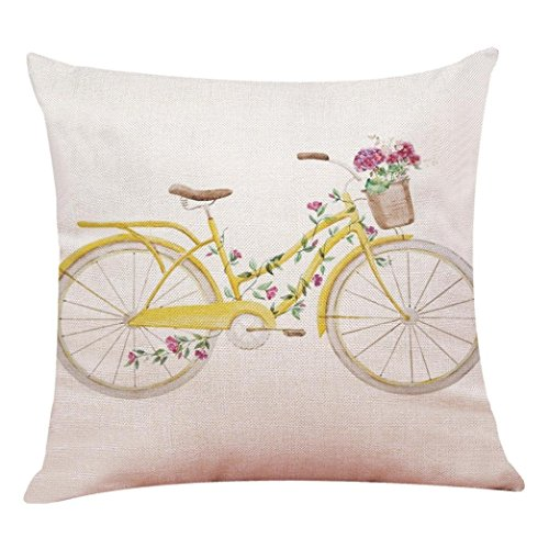 YISUMEI Kissenbezug Kissenhülle 55x55 cm Home Decor Dekokissen Fall Sofa Werfen Kissenbezüge Pillowcases Fahrrad Blume