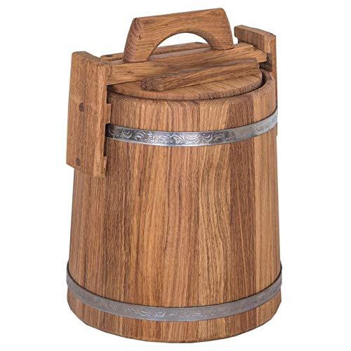 Eichen Kübel Pflanzkübel Deko Garten Gurkentopf mit Deckel Bottich Fass Holz, Volumen Eichenfass:5 Liter - 5-liter-eichenfass