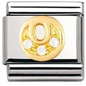 Nomination Comp. Classic BUCHST. Edelstahl, 18K-Gold und Cubic Zirc. (O) 030301