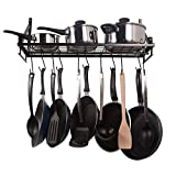 #8: Geo Fashion Indian Sterline Kitchen Wall Pot Pan Rack,With 10 Hooks,Black