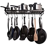 Geo Fashion Indian Sterline Kitchen Wall Pot Pan Rack,With 10 Hooks,Black
