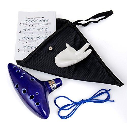 HusDow-12-Loch-Alt-C-Okarina - inklusive Ständer, Schutztasche, Nackengurt und Musiknotenblatt