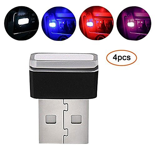 Pawaca Auto USB Beleuchtung, Auto Innenbeleuchtung Atmosphäre Licht Mini Wireless USB Universal LED Licht für Auto&Notizbuch&Energie Bank(4 Color) - Mini Usb Led