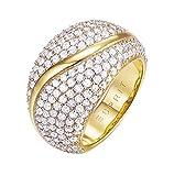 ESPRIT Glamour Damen-Ring ES-ATROPIA GOLD teilvergoldet Zirkonia transparent Gr. 54 (17.2) - ESRG02844B170