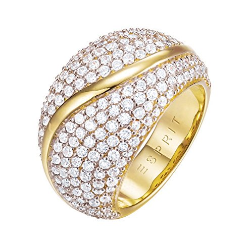 ESPRIT Glamour Damen-Ring ES-ATROPIA GOLD teilvergoldet Zirkonia transparent Gr. 54 (17.2) - ESRG02844B170 -