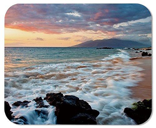 FOSHANSH Wailea Makena Beach Maui Hawaii Beautiful Sunset Sea Waves Clouds Mouse Pad Mat