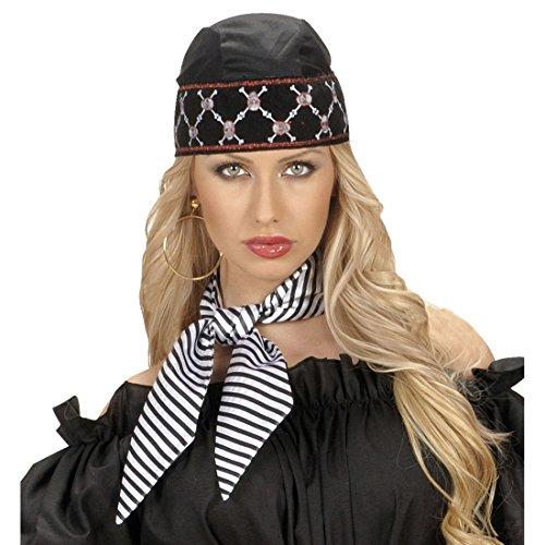 NET TOYS Piraten Halstuch Satin Haartuch schwarz-weiß gestreift Pirat Satintuch Streifen Piratentuch Seeräuber Hals Tuch Haar Accessoire Karneval Kostüm Zubehör
