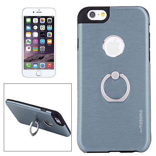 Phone case & Hülle Für iPhone 6 / 6s, Brushed Texture Metal + TPU Schutzhülle mit Ringhalter Stand ( Color : Silver ) Dark Blue