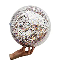 Garciakia Outdoor PVC Sports Inflatable Sequin Beach Ball Sequins Soft Water Pool Children Funny Toys Inflatable Toys(Color:Transparent)(Size:24 inch)