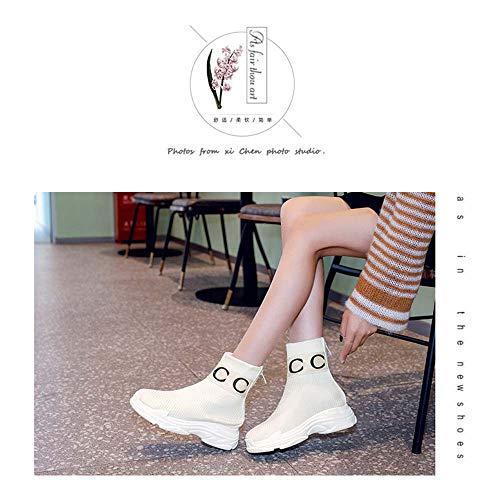 THQZJ Socken Schuhe Weibliche Hohe Hilfe Der Koreanischen Version Breathable Strickn Booties Plus Samt Dick Unten Beiläufige Schuhe Große Größe Sexy Breath,Weiß,43 -