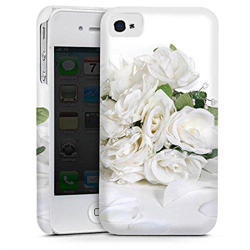 Apple iPhone 4 Housse Étui Silicone Coque Protection Bouquet de roses Bouquet de mariage Feuilles de roses Cas Premium mat