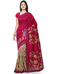 Kvsfab Women's Silk Party Wear Half N Half Saree,Pink & Beige