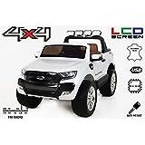Ford Ranger Wildtrak 4X4 LCD Luxury, Elektro Kinderfahrzeug, LCD-Bildschirm, weiss - 2.4Ghz, 2 x 12V, 4 X MOTOR, Fernbedienung, 2-Sitze in Leder, Soft EVA Räder, Bluetooth