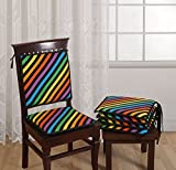 """Swayam Stripes 200 TC Cotton 4 Piece Chair Pads with Loop - 16""""x16"""", Multicolour"""
