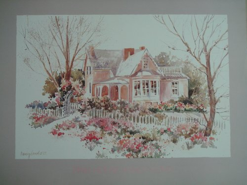 Unbekannt Rosa Haus Poster von Nancy Lund Cms 62 X Cms 80 -