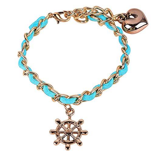Winter 's Secret verstellbar Exotic Stil Anker Anhänger blau Hand stricken Herz Link Armband