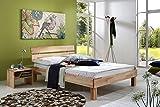 SAM Massiv-Holzbett 160x200 cm Jessica in Buche Natur Geölt, Bett mit geteiltem Kopfteil, natürliche Maserung, zeitlosem Naturton
