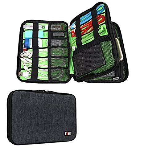 BUBM Waterproof Double Layer Travel Gear Organizer / Electronics Accessories Bag with Zipper Mesh Pockets and Elastic Loops (Two layers-Black)