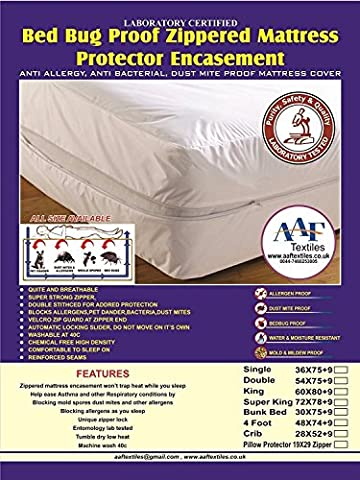 Lab Certifié punaises de lit Matelas Encasement|fully Niche anti Lit Buglnon Bruyants, hypoallergénique punaises de lit |anti Allergy |dust acariens Proof|breathable|mattress Cover|protector|encasement|strong Zipper|help facilité d'asthme |eliminates Bugs & Allergens|anti Sneezing|anti démangeaisons toutes les tailles UK simple, double, King, Petit double, Super king size, protège Oreiller, Protection anti-punaises, Jumeau